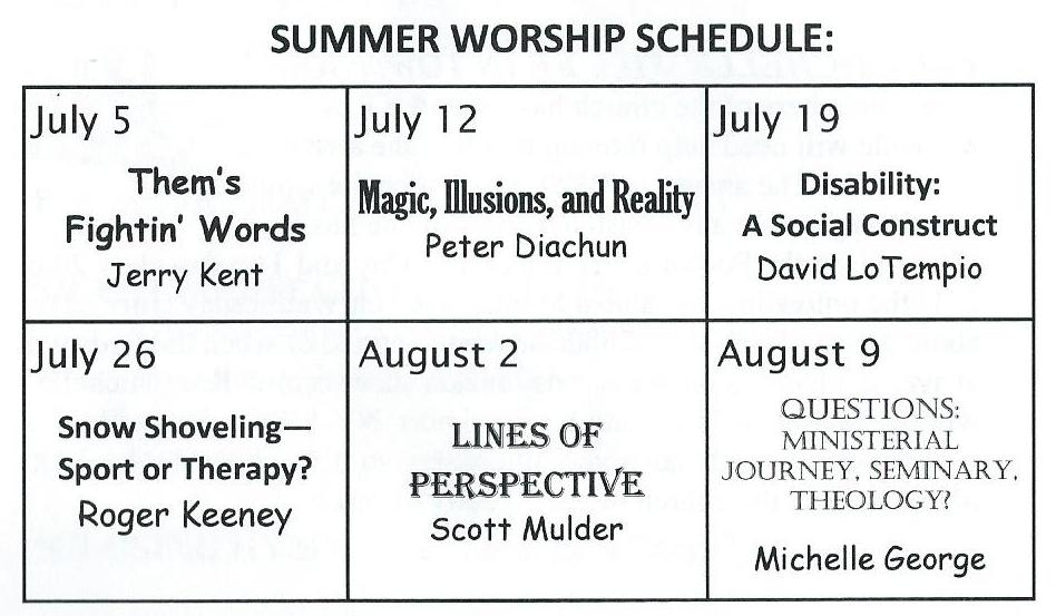 Summer 2015 Worship Schedule Titles and Dates